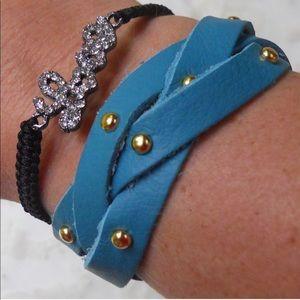 "1"" Gold Stud Braided Leather Bracelet"